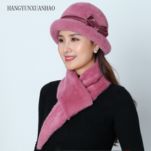 Fashion Winter Hat And Scarf Set For Women Rabbit Fur & Girls Pompons Knitted Beanies Scarves 2 pieces / set Accessori