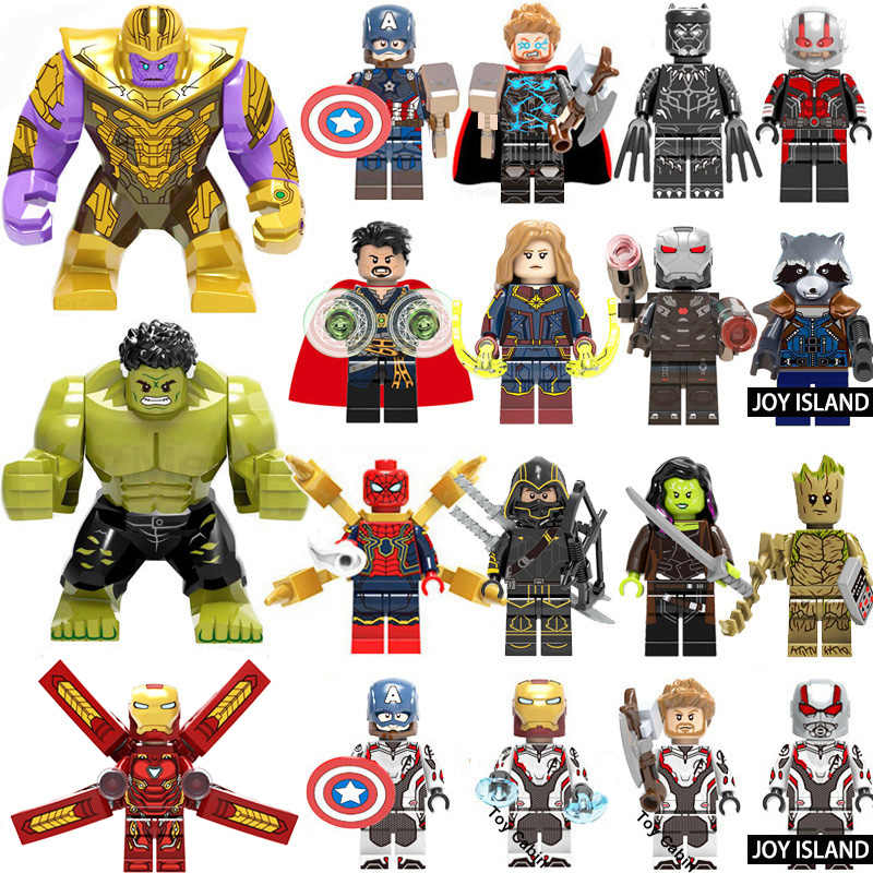 Marvel Avengers 4 Pahlawan Super Legoed Endgame Iron Man Captain America Spiderman Thanos Hulk Blok Bangunan Figure Mainan Anak