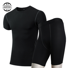 Mens Compression Tights Demix Tracksuit Quick Dry Sportswear Gym Running Set Short T-Shirt Shorts Fitness Sport Suit