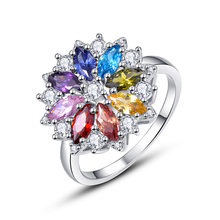 Sterling Silver Jewelry Colorful Diamond Ring Gemstone 18K White Gold Plated Flower Special Design Zircon Luxury Vintage Ring(China)