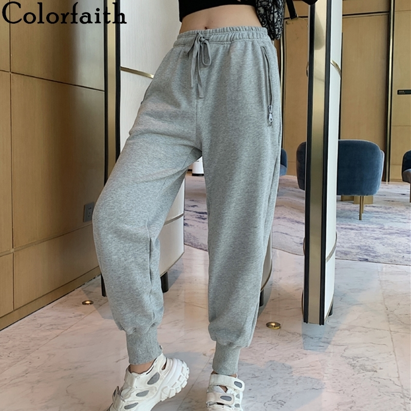 Colorfaith 2019 Spring Winter Women Pants High Elastic Waist Casual Zipper Pockets Sweat Sports Joggers Lace Up Trousers P3984