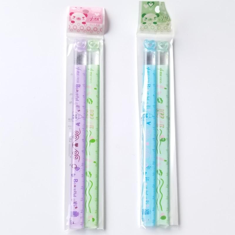 2 PCS/Lot Love Mini Ruler Learning A Good Helper 15 Cm Children's Favorite Cartoon Straight Ruler Study Measure Stationery