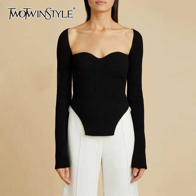 TWOTWINSTYLE Elegant Side Split Knitted Women's Sweater Square Collar Long Sleeve Sexy Sweaters Female Fashion New 2020 Clothing
