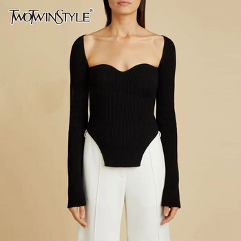 TWOTWINSTYLE Elegant Side Split Knitted Women's Sweater Square Collar Long Sleeve Sexy Sweaters Female Fashion New 2020 Clothing - discount item  59% OFF Sweaters