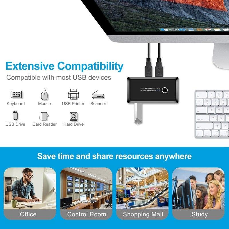 KVM Switch Box USB2.0 Switcher 2 Port PCs Sharing 4 USB Devices For Keyboard Printer Monitor USB Switch