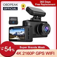 OBDPEAK M63s Dash Cam Двойной объектив со сверхвысоким разрешением Ultra HD, 4K Видеорегистраторы для автомобилей Камера WI-FI GPS заднего вида ночное видени...