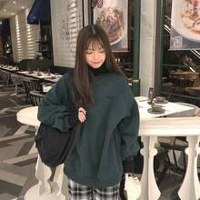 Женская толстовка kawaii, топы, верх размера d, имитация двух частей, буквенная вышивка, Повседневный пуловер размера плюс, Осенние одноцветные толстовки