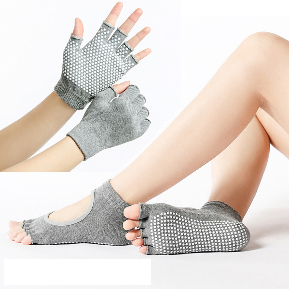 Sports Fitness Yoga Socks And Gloves Set Five-toe Anti-skid Breathable Glove Socks Set FOU99