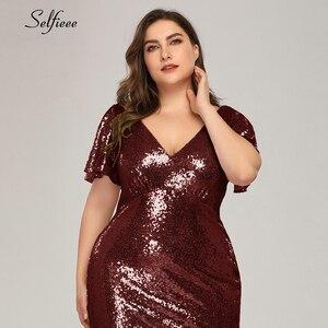 Image 5 - Plus rozmiar różowe złoto syrenka kobiety sukienki z krótkim rękawem cekinami dekolt Bodycon eleganckie sukienki Maxi na szata na imprezę Femme 2020