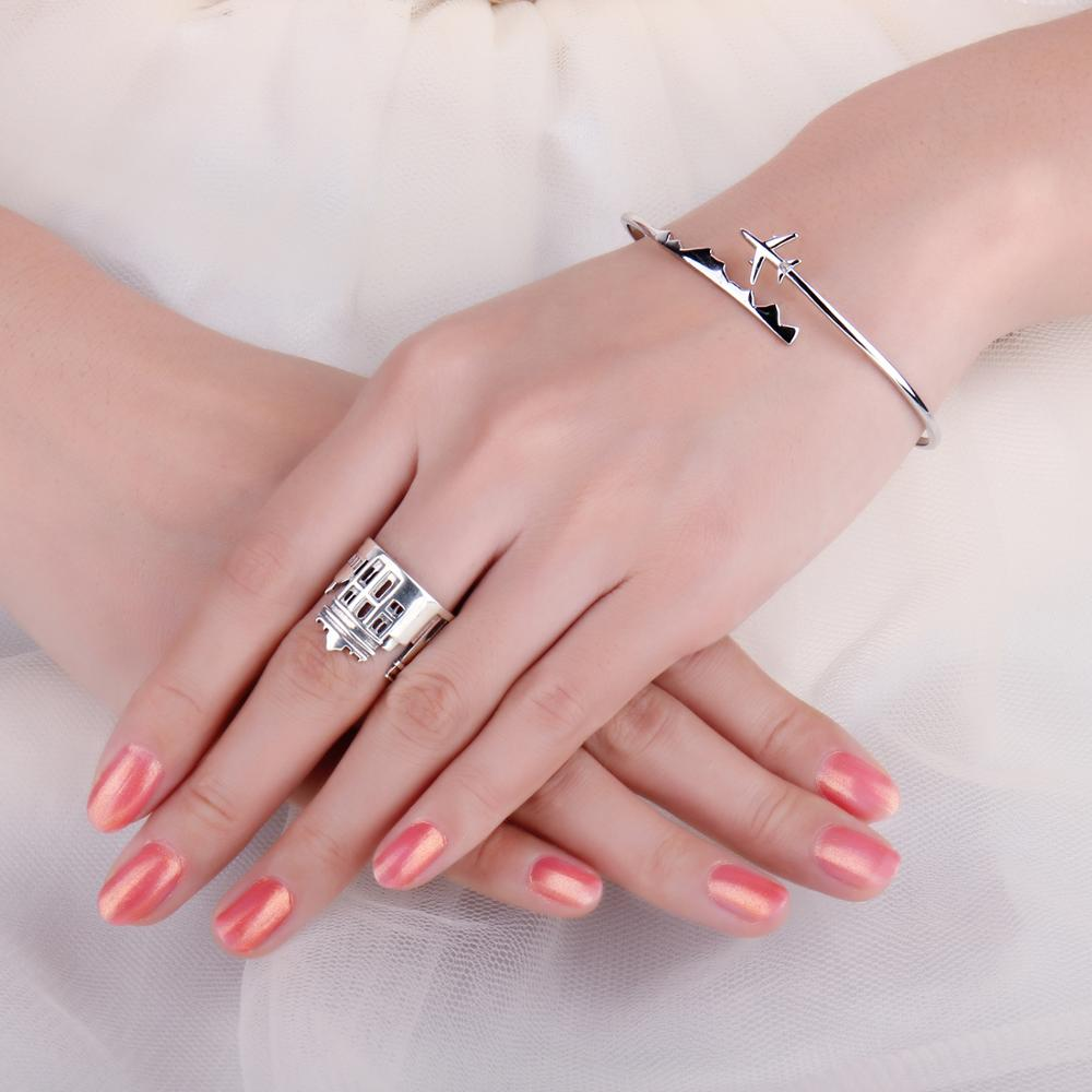 Image 4 - JewelryPalace Marble Arch Rings 925 Sterling Silver Rings for  Women Open Stackable Ring Band Silver 925 Jewelry Fine JewelryRings