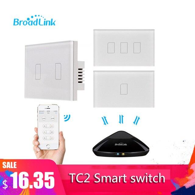 Broadlink Interruptor de pared táctil TC2 1/2/3 entradas, 433MHZ, Control remoto, estándar de EE. UU., para sistema de casa inteligente, 2019