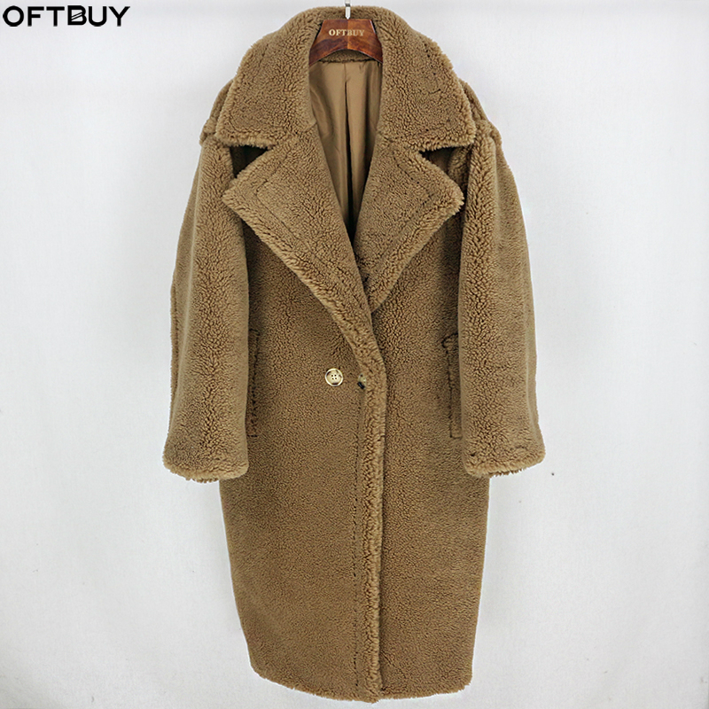 Winter Jacket Coat Teddy Cozy Fabric Oversize Streetwear Real-Fur-Long 100%Wool-Content