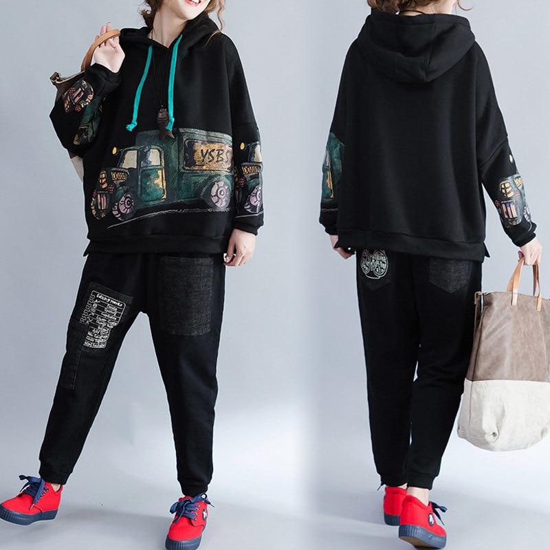 Winter Warm Fleece Tracksuit For Women Autumn Female Large Size Two-piece Sets Women's Plus Size Tops +pants Suits AA266S30