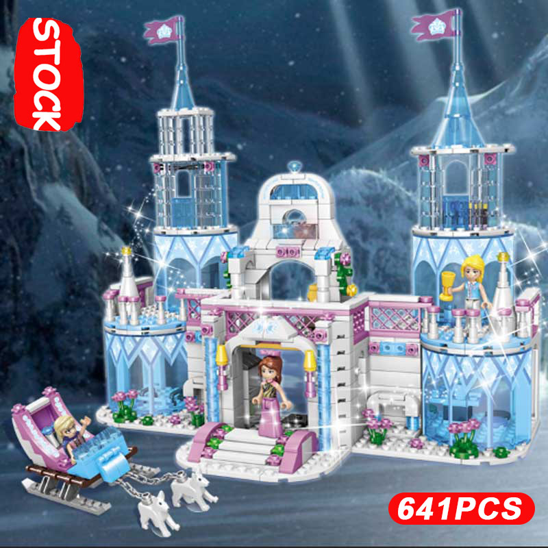 New 641 PIce Snow Castle Series Christmas Gift Princess Lepinblocks Girls Club Toys Fit Lepining 41148 Friends Frozeninglys