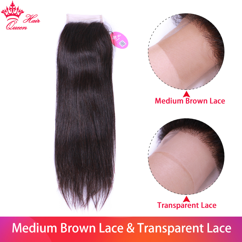 Queen Hair Products Virgin Lace Closure Straight 100% Human