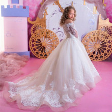 Dresses Princess-Gown Flower-Girls First-Communion Wedding Lace Party