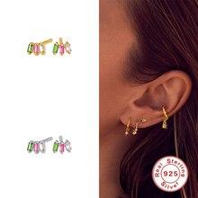 Korean Earring Aide Jewelry Rainbow-Zircon 925-Sterling-Silver Women for Gift Couple