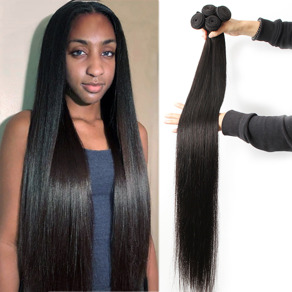 Fashow Straight 32 34 36 40 Brazilian Hair 1 3 4 Bundles Hair Double Wefts Natural Human Hair Bundles Remy Hair Weave Extensions