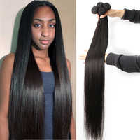 Fashow mechones de cabello lacio 30 32 34 36 40 cabello brasileño extensiones de cabello humano Natural doble trama mechones Remy extensiones de cabello