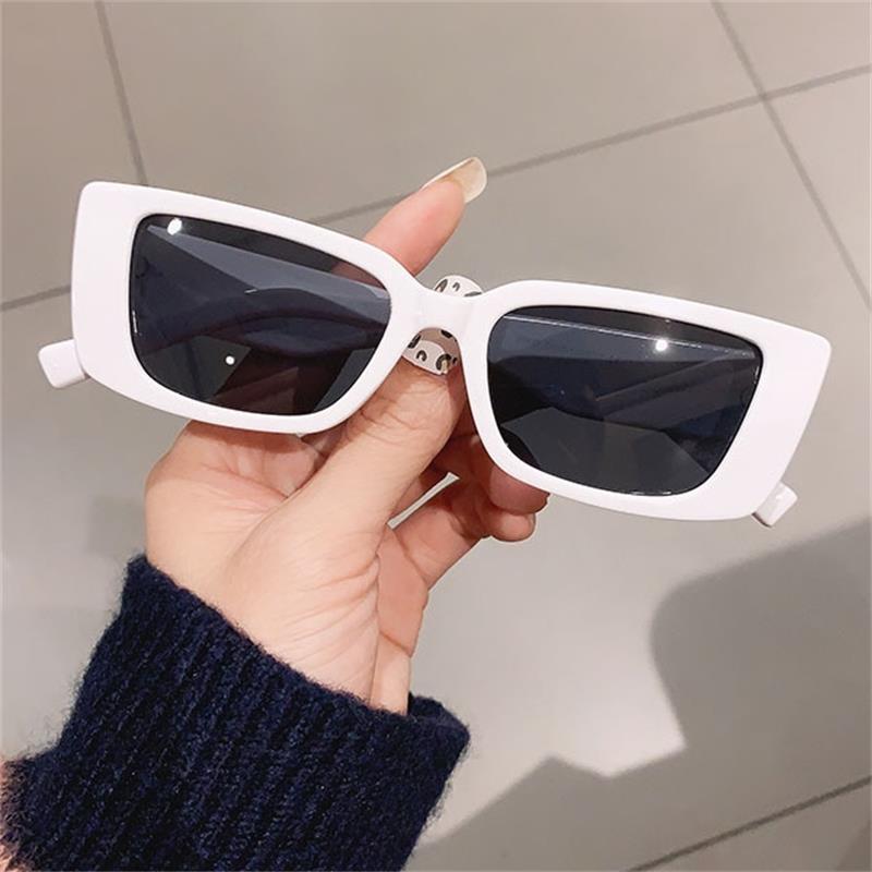 Retro Weiß Rechteckige Sonnenbrille Frauen 2021 Trendy Marke Designer Shades Kleine Rahmen Sonnenbrille Weibliche Sexy Oculos UV400