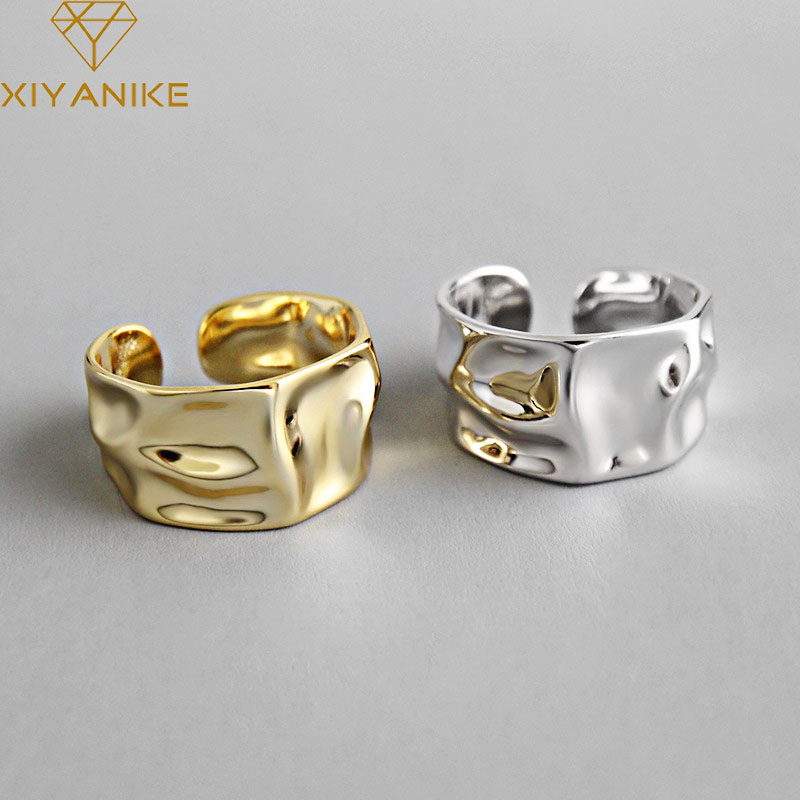 XIYANIKE 925 Sterling Silver Engagement Rings for Women Couple Trendy Irregular Geometric Handmade Jewelry Valentine's day Gifts