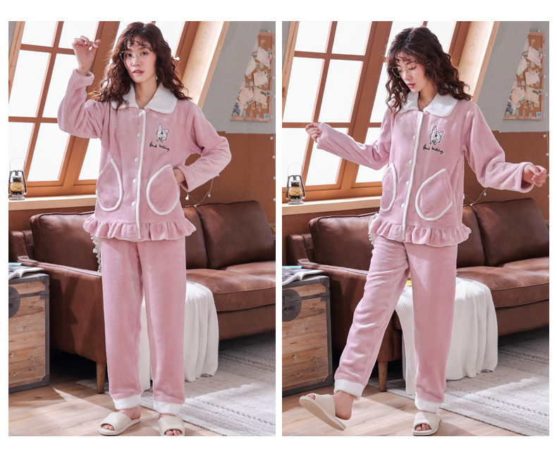 Plus Size 3XL 4XL 5XL Pajamas for women 2019 Winter Thicken Flannel pyjamas Long-sleeve lovely Sleepwear Coral Fleece Nightgowns 159