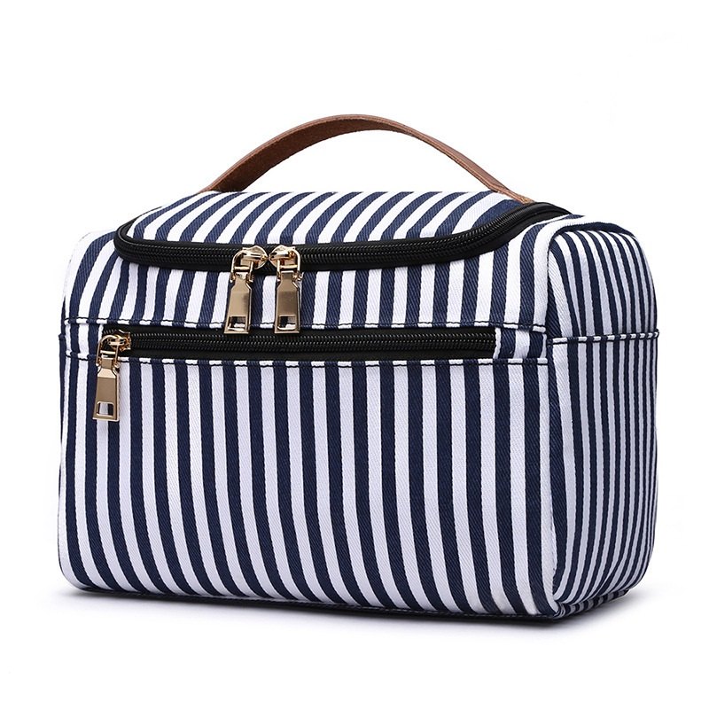 Blue Striped Canvas Cosmetic Bag With Leather Handle Fashion Woman Washing Organizer Storage Travel Beautician Makeup Bag