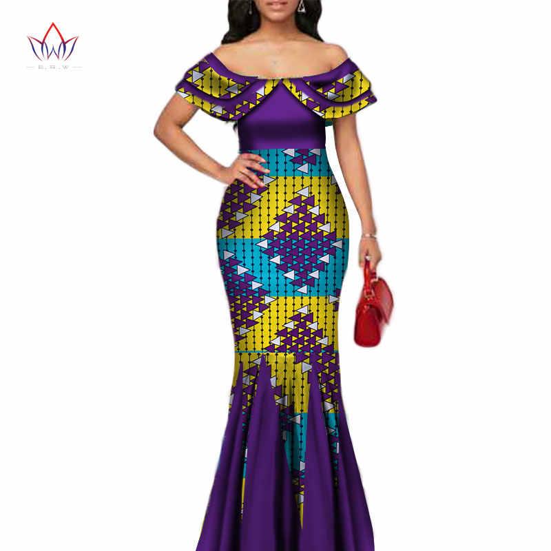 Модное Длинное платье русалки с принтом в африканском стиле для женщин Bazin богатый пэчворк Питер Пэн Colla платья африканская Дизайнерская одежда WY3272