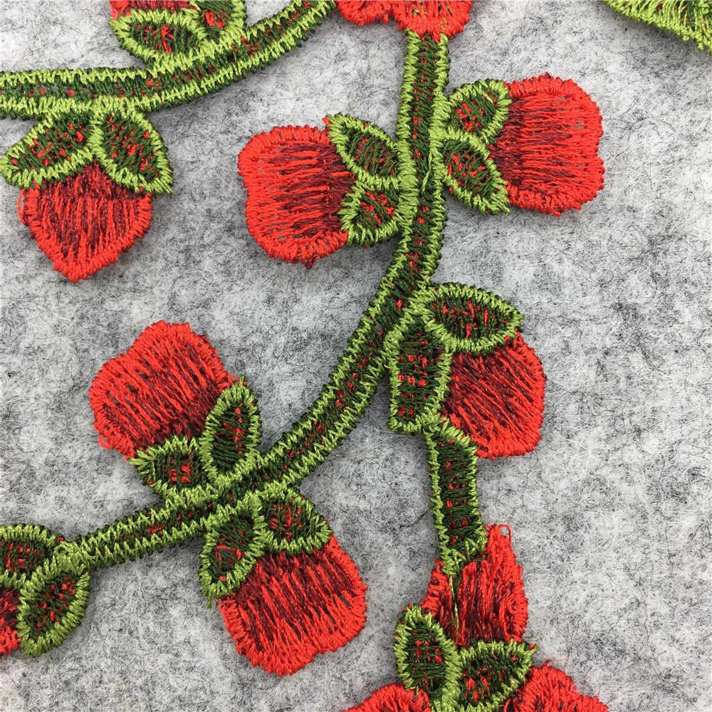 Fiore Floreale Ricamato in Pizzo Tessuto Del Vestito Applique Camicetta Neckline Del Collare Del Costume da Cucire Rifiniture Fai da Te Decorazione Accessori