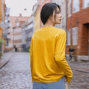 Image 3 - INMAN 2020 bahar yeni varış edebi baskılı yuvarlak yaka bırakılan omuz uzun kollu gevşek kazak tüm maç T shirt