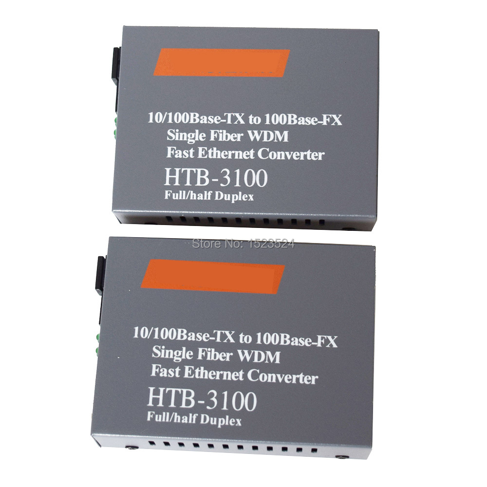 1 Pair Htb-3100ab 10/100M Fiber Optical Media Converter Fiber Transceiver Single Fiber 25km SC Singlemode