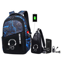 Luminous oxford school bags for teenage boys large backpack for teenagers bagpack high school backpack student casual travel bag