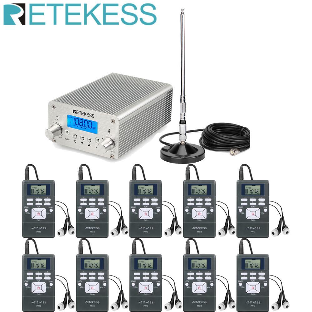 Retekess Wireless FM Transmission System TR502 15W FM Transmitter+10pcs PR13 Radio +Antenna for Church Meeting TranslationMicrophones   -