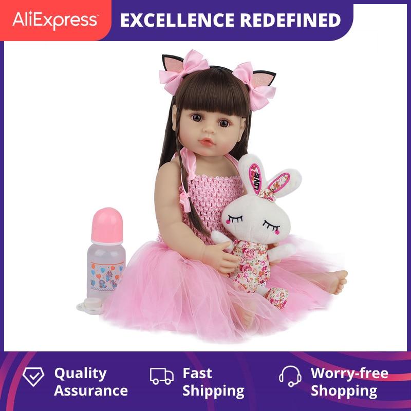 55CM Bebe Puppe Bebe Reborn Baby Puppen für Kinder Spielzeug Kleinkind Volle Körper Silikon Mädchen Reborn Puppe mit Sommer kleidung