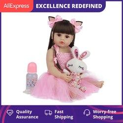 55CM Bebe poupée Bebe Reborn bébé poupées pour enfants jouets enfant en bas âge corps complet Silicone fille Reborn poupée avec des vêtements d'été