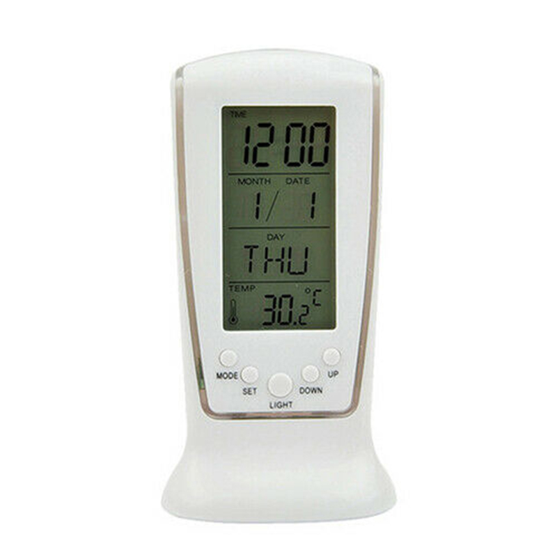 LED Digital Table Alarm Snooze Clock Night Light Thermometer Displayer GV99