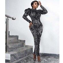 Cekinowa aksamitna sukienka wieczorowa kobiety afrykańskie ubrania bufiaste rękawy Slim z długim rękawem rozciągliwa obcisła sukienka elegancka sukienka Partyclub