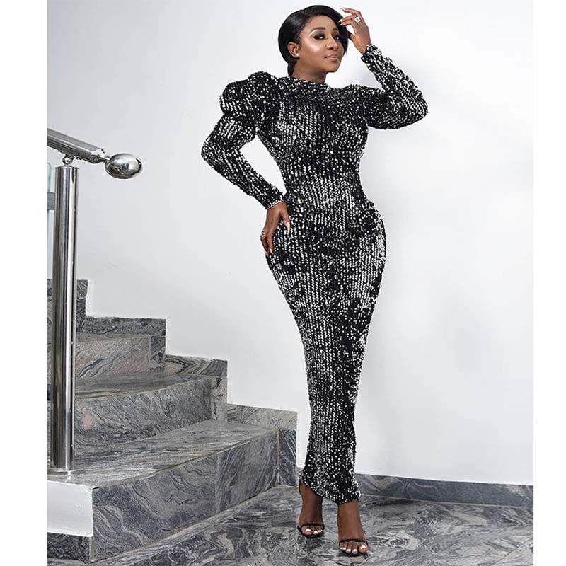 Sequin Velvet Party Dress Women African Clothes Puff Sleeve Slim Long Sleeve Stretchy Bodycon Dress Elegant Robe Partyclub