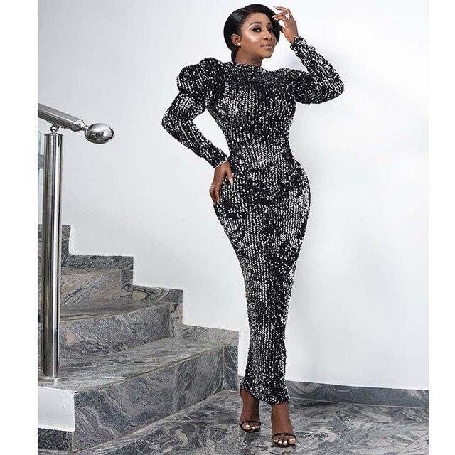 Vestido de fiesta de terciopelo con lentejuelas para mujer, ropa africana, manga abombada, ajustado, elástico, ceñido, elegante