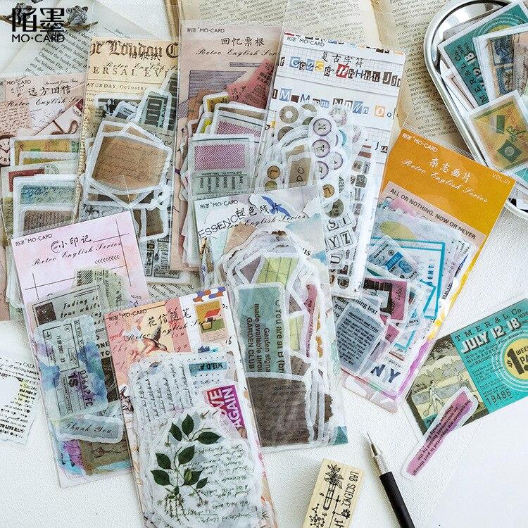 1pack Washi Paper Sticker Bag Retro England Series Creative Diary DIY Decorative Stickers Album Stick Label Stationery