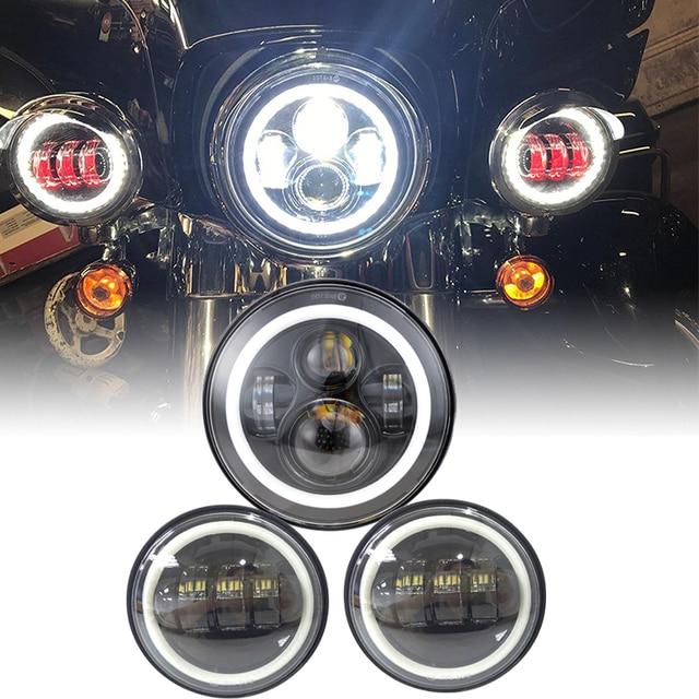 """7 """"zoll Schwarz Chrome LED Projektor Motor Scheinwerfer + 4 1/2 Vorbei Lichter Für Touring Electra Glide"""