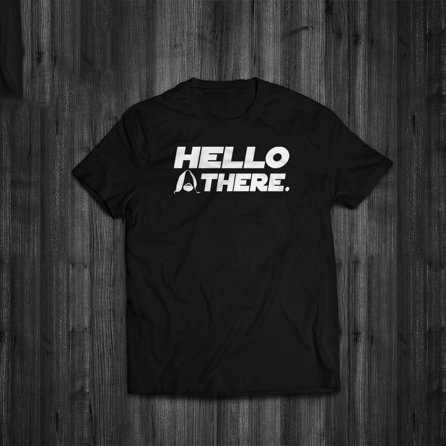 T Shirt Hello There Funny Star Wars Inspired Quote Meme Kenobi Tee image
