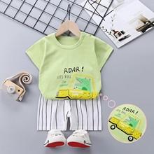 Zestawy ubrań dla niemowląt letnie dziecko chłopcy dziewczęta Sport garnitur niemowlę bawełna dzieci z krótkim rękawem topy T-shirt + spodenki zestaw ubrań dla dzieci tanie tanio Na co dzień CN (pochodzenie) Z okrągłym kołnierzykiem Pulower SS0070 COTTON Unisex SHORT REGULAR Dobrze pasuje do rozmiaru wybierz swój normalny rozmiar