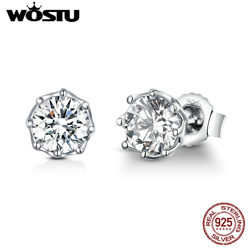 WOSTU Real 100% 925 Sterling Silver Sparkling Light Stud Earrings For Women Engagement Wedding Fashion Fresh Jewelry Gift CQE499
