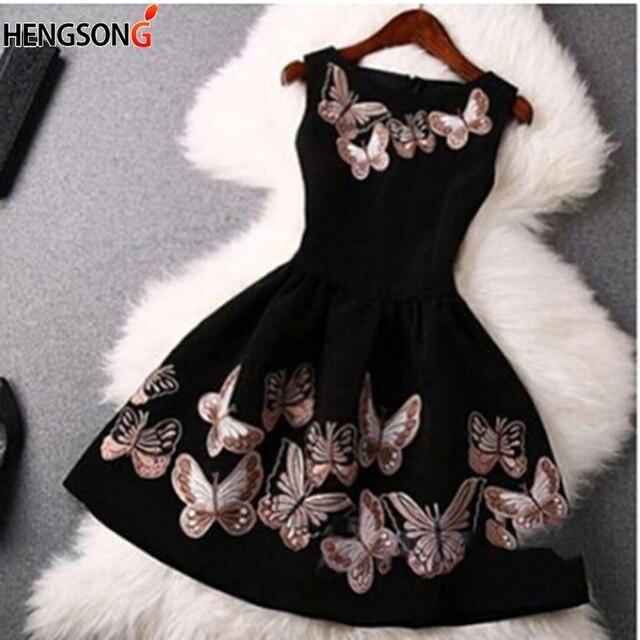 Female Lady O-Neck Slim Big Swing Ball Gown Dress Vestido Women Fashion Party Dress Sleeveless Back Zipper Butterfly Print Dress 2
