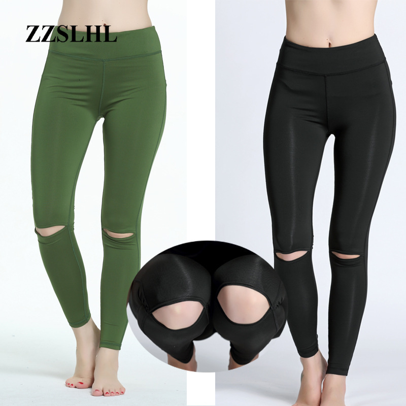 Knee Hollow Fitness Yoga Sports Pants Sexy Tight Mesh Stitching Exercise Pants Slim Outdoor Gym Cool Trousers For Girls Women
