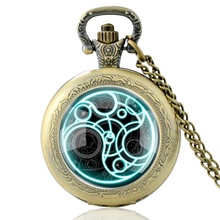 High Quality Vintage Doctor Who Symbol Glass Dome Quartz Pocket Watch Classic Men Women Bronze Necklace Pendant Gifts