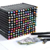 Touchfive 60 cor dupla cabeça marcador de arte conjunto álcool esboço marcadores caneta para o artista desenho manga água cor escova