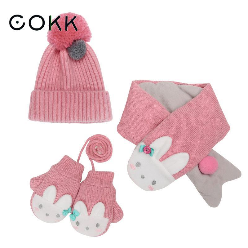 COKK Kids Hat & Scarf Winter Hat And Gloves Set For Girls Boys Velvet Thickening Set Cartoon Animals 3pcs/set Keep Warm Children