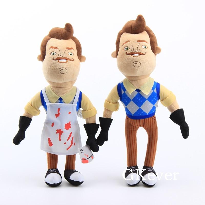 40cm olá vizinho brinquedos de pelúcia macio pelúcia boneca tamanhos grandes travesseiro macio dormir brinquedos o vizinho avental & cleaver figura presente